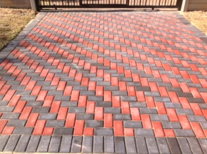 Red and charcoal bevel paving