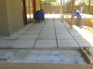 Flagstone paving on a patio