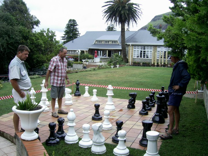 Chess board made with flagstone paving